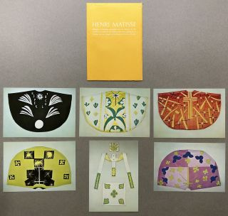6 postcards in printed MOMA envelope of liturgical vestments executed from his designs. Henri...