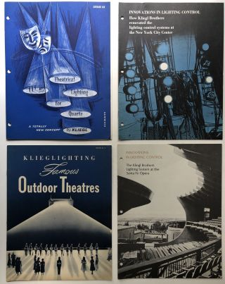 8 1958-1971 catalogs, brochures, flyers, spec sheets on Klieglights, theatre lighting, etc....