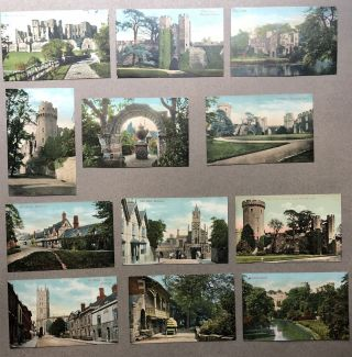 12 ca. 1910s postcards of Warwick, Warwick Castle, Guy's Cliffe, UK