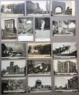 26 postcards from 1906 of the San Francisco Earthquake, including postcards of San Jose and...
