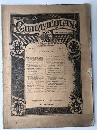 The Chautauquan, November 1885. Theodore L. Flood, Clarence Cook, ed. Edward Everett Hale