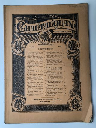 The Chautauquan, November 1886. Theodore L. Flood, Kate Sanborn, ed. Mary Livermore