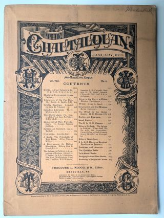 The Chautauquan, January 1888. Theodore L. Flood, Helen Campbell, ed. Ida Tarbell
