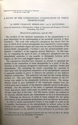 2 volumes of offprints 1935-1946 on isotopes, cholesterol, microbiology, molecular chemistry, enzymes, amino acids, biochemistry, etc., including articles by Nobel winner Konrad Bloch