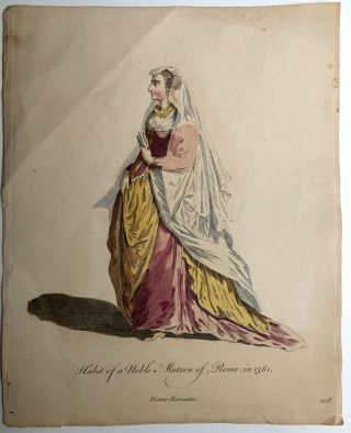 "3 colored plates from ""A Collection of the Dresses of Different Nations"" (1757): Habit of a Lady..."