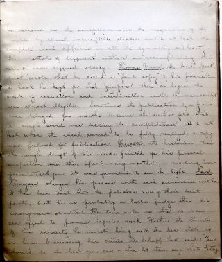 Handwritten transcription of Dubbs' Lectures on the Theory of Style, 1888