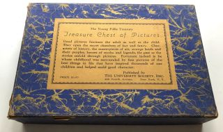 The Young Folks Treasury: TREASURE CHEST OF PICTURES (1919) - box with 300 plates