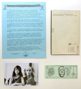 """Group of ephemera from The Living Theatre and its time in Pittsburgh: photo of Beck and Malina (1975), """"The Money Tower"""" (flyer, 1975), """"The Legacy of Cain"""" (flyer, 1975, listing cast and describing scenes of """"The Money Tower""""), """"The Beginning of a Process of Social Creation"""" (1975 manifesto), """"In the House of Money"""" (Call to action flyer, 1975), """"Earth's Declaration"""" (Spring 1975 flyer), """"Turning the Earth"""" (Flyer for another section of """"The Legacy of Cain""""), 2 pp. press release on """"The Legacy of Cain"""" from 1975, a Living Theatre """"Dollar Death"""" (the size of a dollar bill with anti-capitalist text), photo of Beck and others in """"Six Public Acts (1975), poster from the time: Judith Malina, Julian Beck...present An Open Discussion on Theatre and Revolution."""