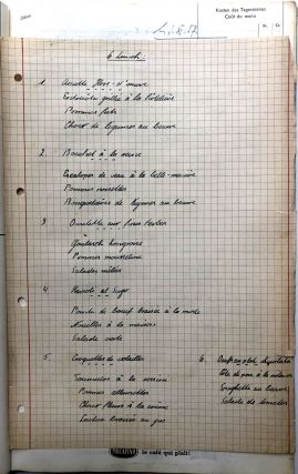 1957-1958 Berne Switzerland bound volume of handwritten menus for a restaurant