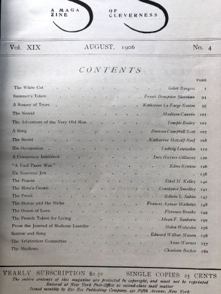 The Smart Set, a Magazine of Cleverness, August 1906