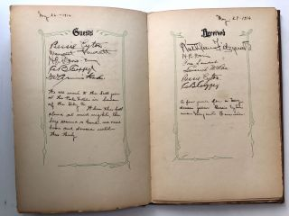 """1916 guest book from the filming of """"The Crisis"""" in Vicksburg, Mississippi"""