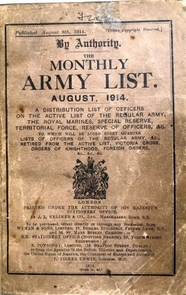 The Monthly Army List, August 1914