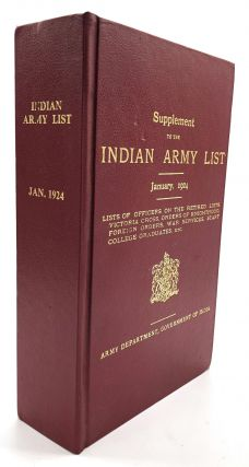 Supplement to the Indian Army List, January 1924. Government of India Army Department