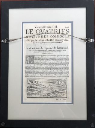 "Ca. 1550 ""De la Situation de Danemarch"" framed colored map of Denmark from the Cosmographia"