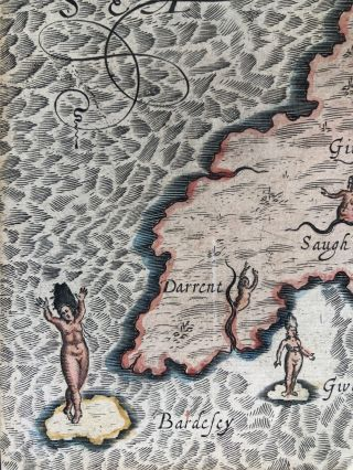 1612 allegorical map from Poly-Olbion: Carnarvanshire, Merionetshire, the Isle of Anglesey, Wales (1612)