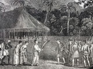 """""""A Representation of the Surrender of the Island of Otaheite to Captain Wallis, by the supposed Queen Oberea"""" (1784 framed print)"""