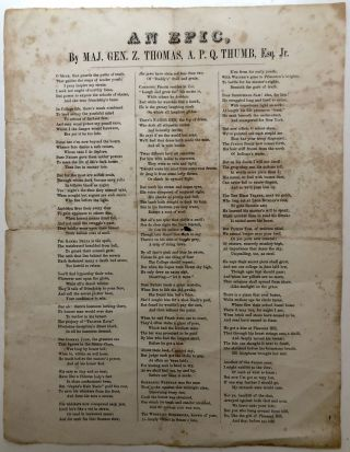 "Ca. 1860 Unrecorded broadside class satirical poem, ""An Epic"" - Jefferson College, Washington,..."