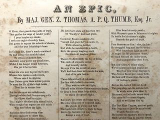 "Ca. 1860 Unrecorded broadside class satirical poem, ""An Epic"" - Jefferson College, Washington, PA"