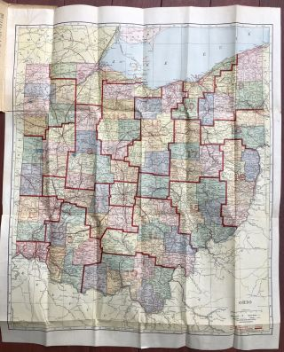 1910 Census, Hammond's Complete Map of Ohio, showing electric and steam railroads, steamboat lines, counties, congressional districts, and all cities, towns and villages...also new hotel directory with rates, etc.