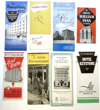 Group of 13 1930s-40s Pennsylvania hotel brochures and maps, mainly western PA: William Penn,...