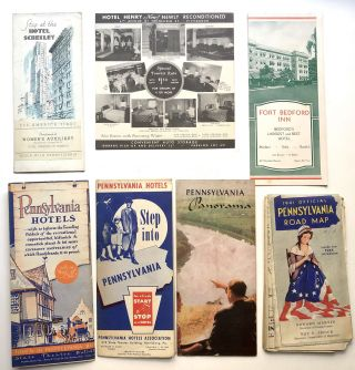 Group of 13 1930s-40s Pennsylvania hotel brochures and maps, mainly western PA: William Penn, Schenley, Roosevelt, Hotel Henry, Pittsburgher, Anthony Wayne Hotel, Hotel Keystone, Fort Bedford inn, Pennsylvania Hotel Bedford, etc.