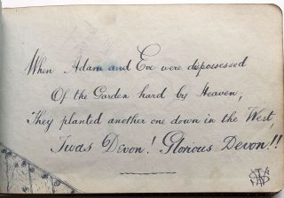 1908-1918 album of clever autographs, drawings & watercolors collected by a young woman of Devon, later Malvern including WWI material