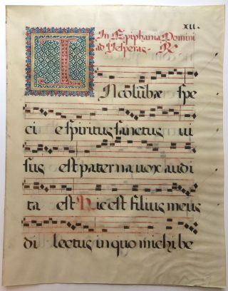 Ca. 1600s or earlier bifolium of Feast of the Epiphany liturgy and doxology. Antiphonal