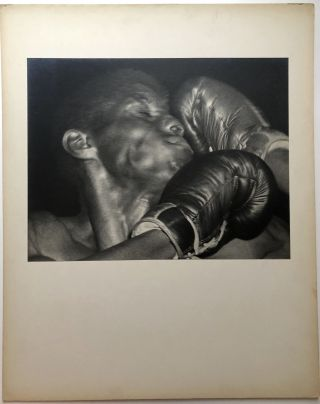 "Original 13.5 x 10"" ca. 1960s gelatin silver print of African American boxer taking one to the..."