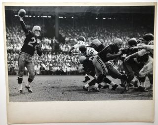 "Original 19 x 12.5"" gelatin silver photo, ""The Old Pro"" 1961-62 Pittsburgh Steelers, Bobby Layne...."