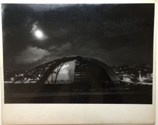 "Original 19 x 13"" gelatin silver photo, ""Moonlight"" -- construction of the Civic Arena in..."