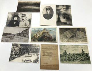 10 WWI postcards, several rppc: Camp Gen. Beaver, Indiana Pa 1914; Field Service pc from 7/1/18;...