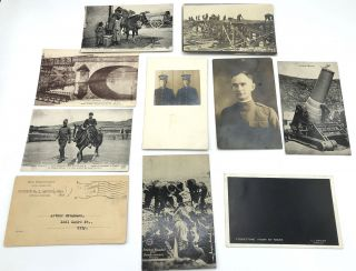 10 WWI postcards, some RPPC: Les Americains en France (soldier kissing French girl, 1919);...