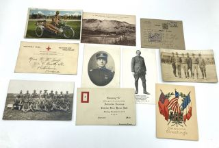 10 WWI postcards, some RPPC: Xmas card 1918 from Charles Watson Co. D 15th US Eng'rs; Invitation...