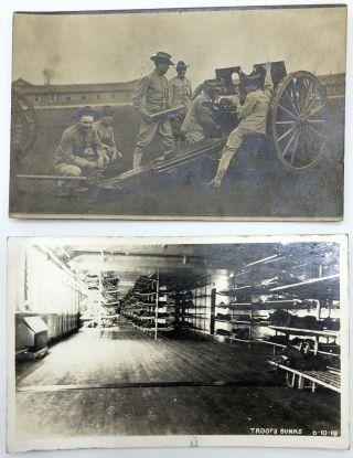 """10 military postcards mainly Real Photo, WWI & before, European & American, including Denver 1906 officer & nurses (?), RPPC of generals, 1909 RPPC regiment in Buffalo, Co. C Squad """"Indoor Contest"""" with names on rear, 12 inch mortar night attack, RPPC from Battalion """"B"""" 1st PA, heading for New Mexico, RPPC of of guys handling a big gun on wheels, 1919 RPPC of troop bunks"""