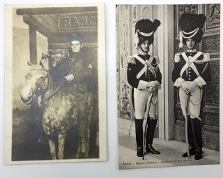 10 military postcards, mainly Real Photo, WWI & before, European & American: Photo from Pittsburgh of officer on horse with trumpet; 2 Vatican guards; 1909 RPPC 55th Reg. Colors, Chariton IA at Camp Lincoln; Side of a roof of 35th US Engineers; RPPC of officer & 3 ladies outside a tent; RPPC of an officer in Prague; RPPC of unidentified officer with handsome cleft chin; officer on horse Stockholm 1910; RPPC of a battalion from Stuttgart; RPPC of unidentified French general