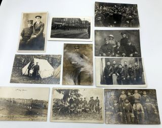 10 military postcards, mainly Real Photo, WWI & before, European & American: 2 guys at Carlisle...