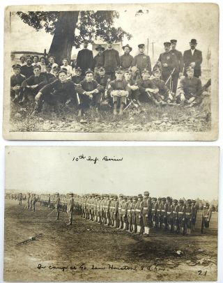 """10 military postcards, mainly Real Photo, WWI & before, European & American: 2 guys at Carlisle PA; Group of six possibly French military police; 10th Infantry Review, Houston TX; Officer and child in front of tent - Penn. Crossed Swords, 1st Battalion, 5th Reg't.; RPPC of large group of servicemen looking pretty battle worn; RPPC of three officers and two women; RPPC 9 members of a German """"Werft Division""""; RPPC of military parade, etc."""