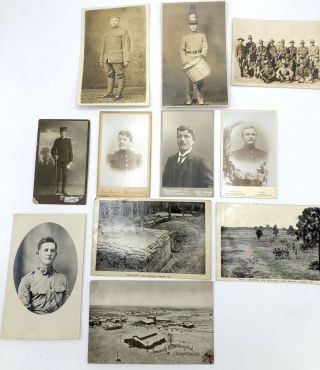 11 military postcards & CDVs, mainly Real Photo, WWI & before, European & American: 4 German CDVs...