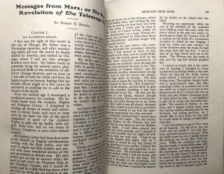 """Messages from Mars"" - science fiction novel serialized in Health magazine, February 1907 - August 1908"
