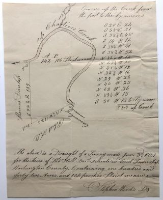 1831 Draft of a survey, June 1831, for 142 acres owned by Thomas Hill, Cecil Township: Chartiers...