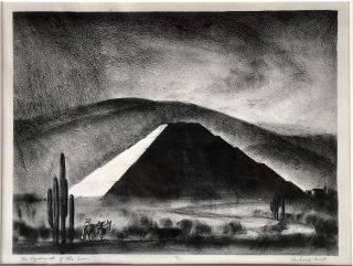 Ca. 1936 lithograph of The Pyramid of the Sun, Mexico, signed, numbered, framed