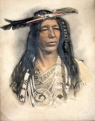 1904 colored embossed platinum print of Native American chief, framed