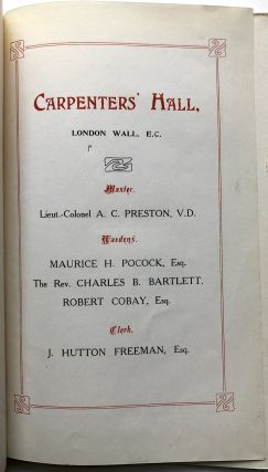 Menu and Program for Carpenters' Company Court Dinner, Friday 10th July, 1908 (London Wall)