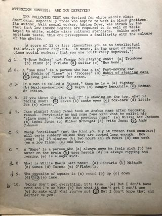 Attention Honkies: Are You Deprived? 1968 test for white middle class Americans who aspire to work in black ghettoes