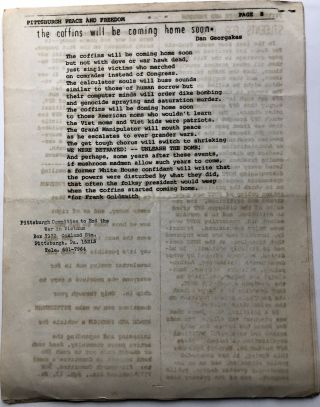 1966 8 pp. flyer: Bulletin: Pittsburghers Protest Hanoi-Haiphong Bombings & Pittsburgh Peace and Freedom, Vol. I #1, July 1966