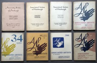 Group of 25 Associated Artists of Pittsburgh annual exhibition catalogs, 1930-1958 including 1948 catalog with entry by Andy Warhol. Years are: 1930, 1933, 1934, 1935, 1936, 1937, 1938, 1939, 1940, 1941, 1942, 1944, 1945, 1946, 1947, 1948, 1949, 1951, 1952, 1953, 1954, 1955, 1956, 1957, and 1958