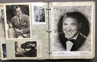 Scrapbook of photos (some signed) of Pete Pepke's jazz musician years and the celebrities he met, including Jack Dempsey, Benny Goodman, Sam Donahue, Jack Martin, Rex Stewart, Eileen Rogers, Tommy & Jimmy Dorsey, Myron Floren, Horace Heidt, Jimmy Palmer, Ernie Rudy, Jimmy Archey, Jerry Wald, Red Skelton, et al.
