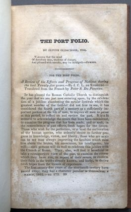 """The Missouri Trapper"" in The Port Folio, March 1825: first published account of the narrative that is the basis for ""The Revenant"" movie of 2015)"