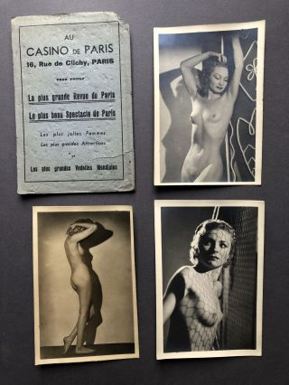Ca. 1920s 3 real photo postcards of French nude women in Casino de Paris folder