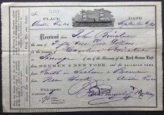 1881 receipt from North German Lloyd steamers for Caroline Bruckner in Reuth, Germany to Austin...